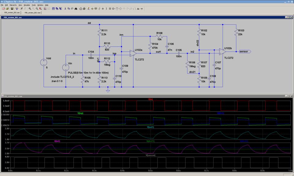 PIR motion sensor frontend SPICE simulation - Noisebridge