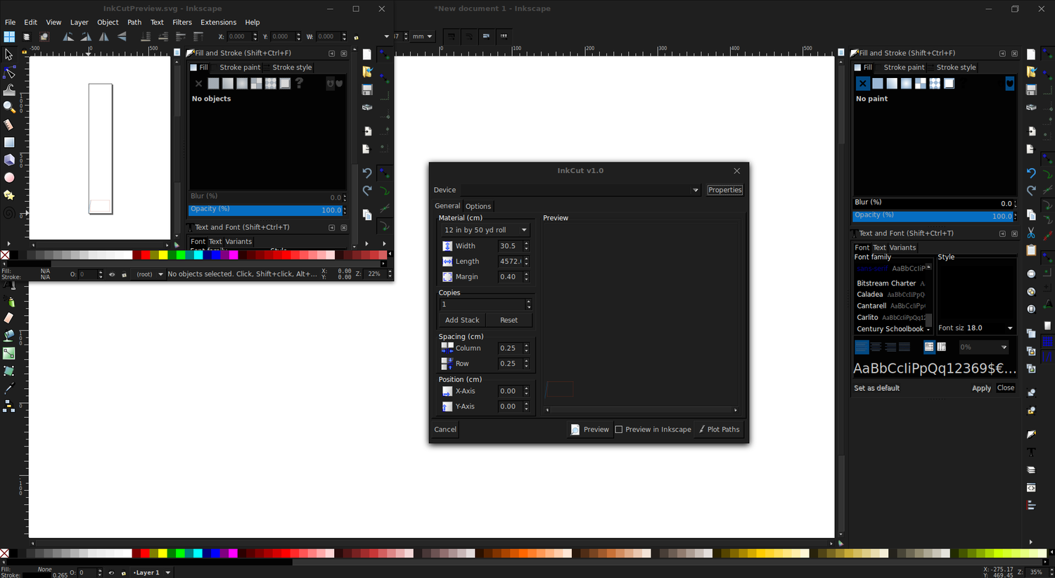 Inkcut software screenshot